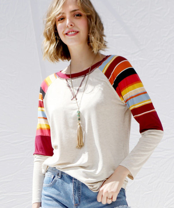 Oatmeal Stripe Sleeve Pullover
