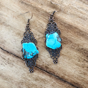 Filigree Turquoise Slab Earrings