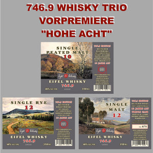 """A WEBSHOP EXCLUSIVE"" - VORPREMIERE - 746.9 - SINGLE RYE 12 + SINGLE MALT 12 + SINGLE PEATED MALT 10"