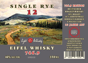 "EIFEL WHISKY 746.9 SINGLE RYE ""Malaga Cask"" (12 Jahre) 350 ML - 46%VA"