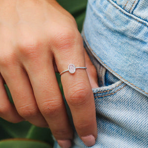 Pura Vida Oval Rose Quartz Ring