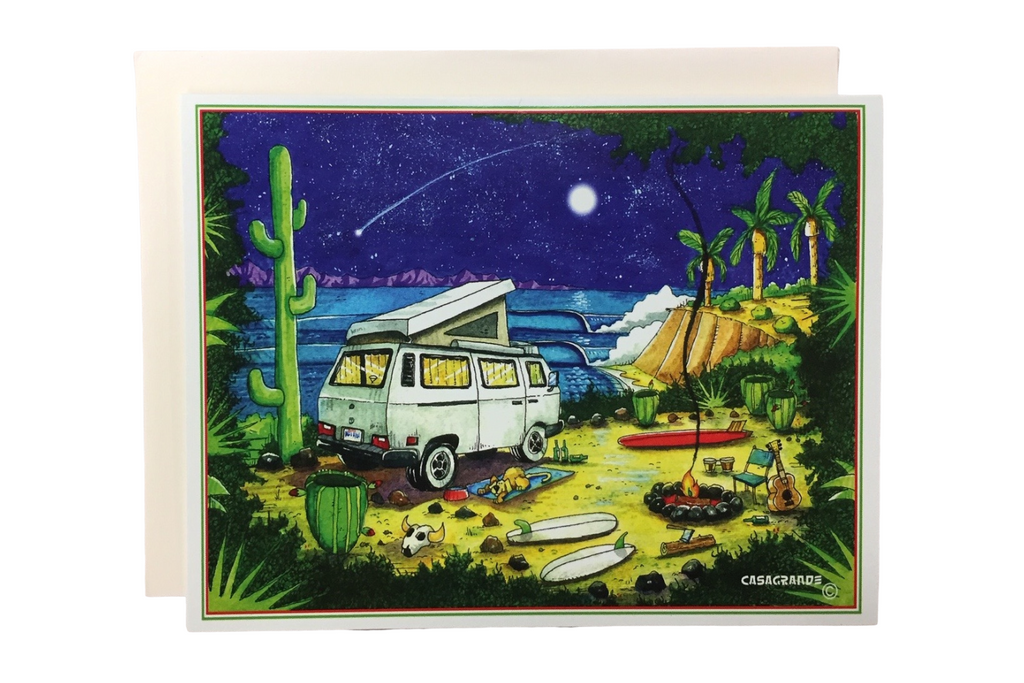 card with artwork of a van, moonlight and ocean scene