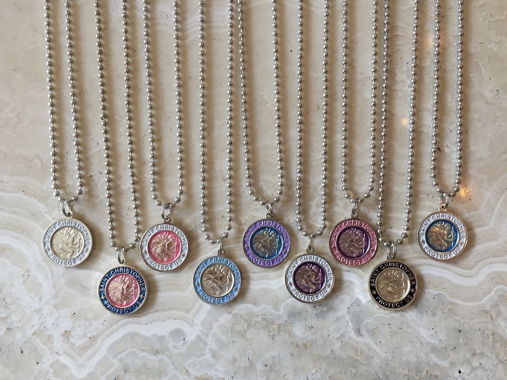 large selection of saint christopher necklaces