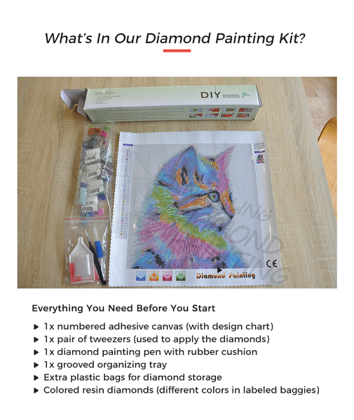 what's in the DIY Diamond Painting Package