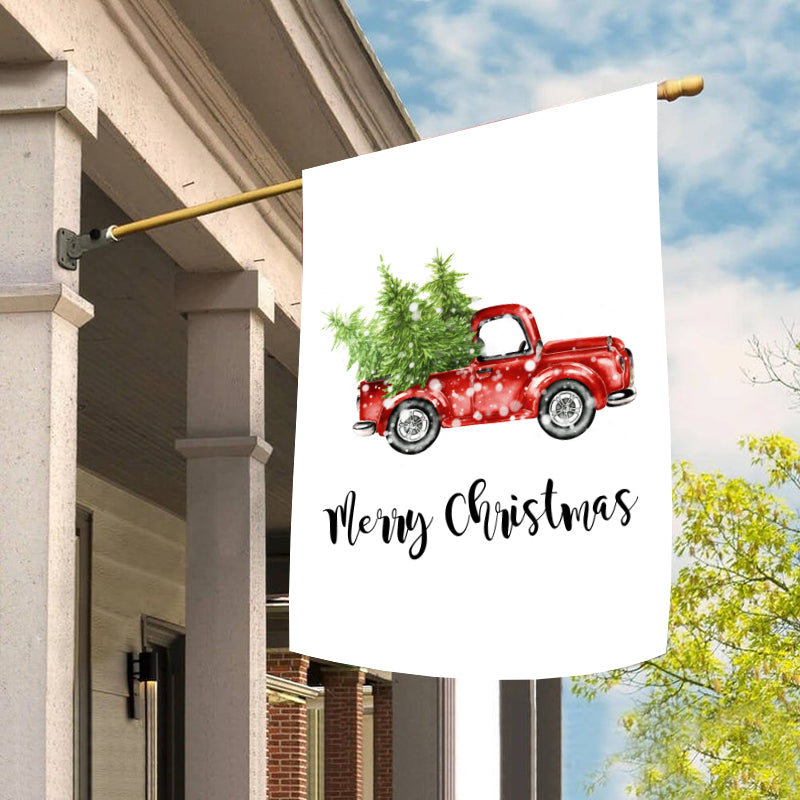 Christmas Red Truck and Tree Garden Flag/House Flag