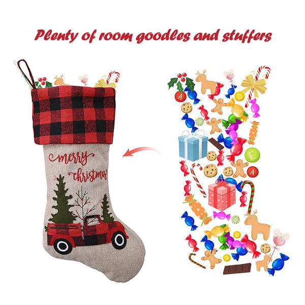 Christmas Decor Red Truck Stocking