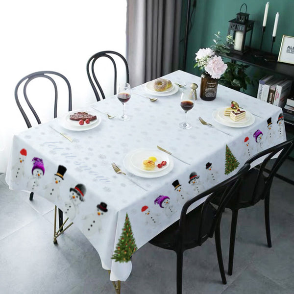 Christmas Decor Waterproof Snowman Tablecloth