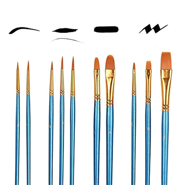 10 Pieces High-Quality Paint Brushes - BlingPainting
