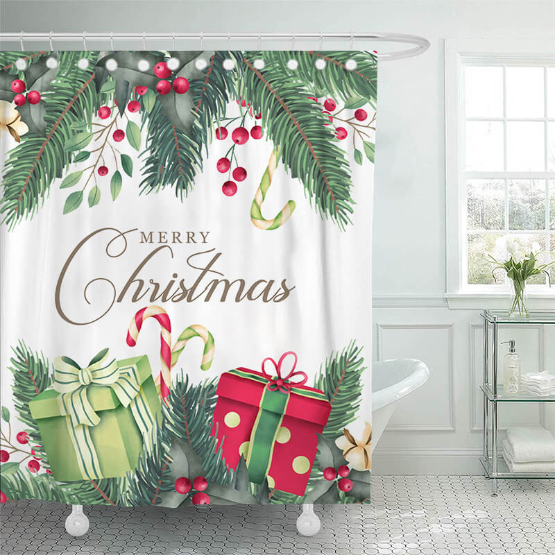 Christmas Berries Bathroom Shower Curtains