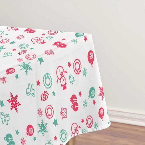 Christmas Decor Waterproof Snowman & Snowflake Tablecloth
