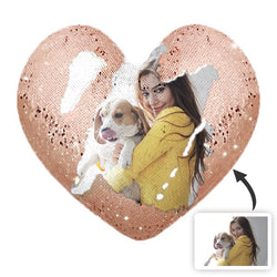Heart Shaped Sequin Pillow with Photo