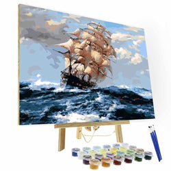 Paint by Numbers Kit  --Sailing In The Wind And Waves - BlingPainting