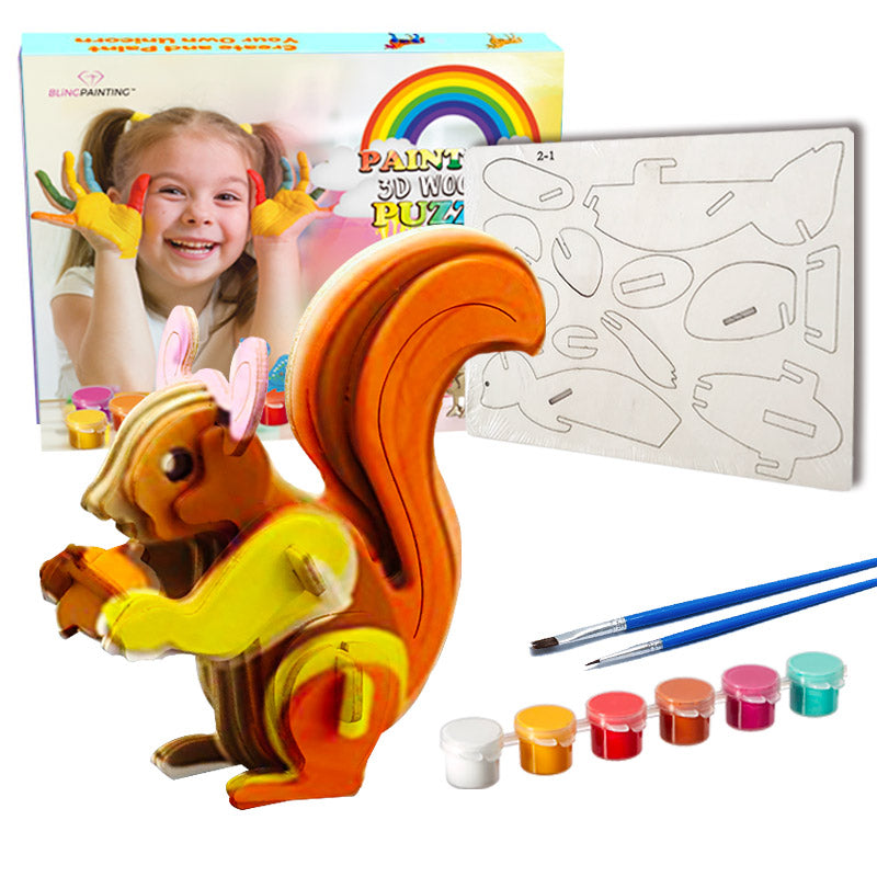 3D Wooden Puzzle Paint Kit for Kids----Cute Squirrel