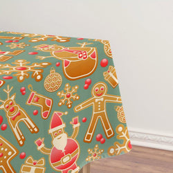 Christmas Decor Waterproof Gingerbread Man Tablecloth
