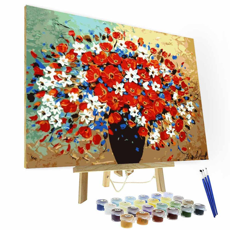 Paint by Number Kit --  Colorful flowers - BlingPainting