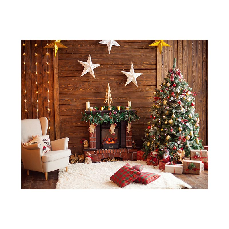 Christmas Fireplace Photography Background Cloth Wallpaper Decoration