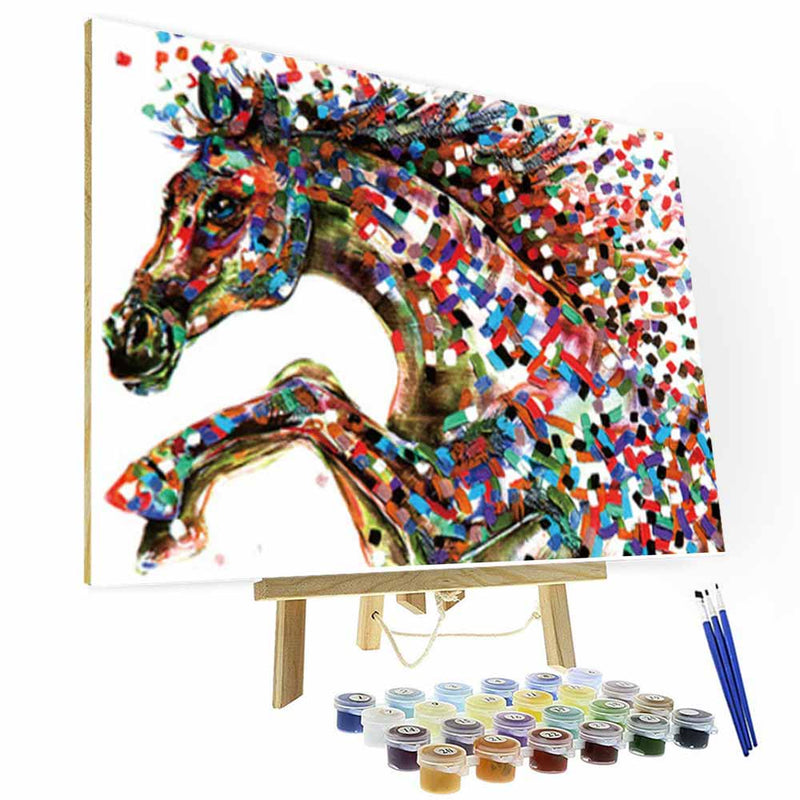 Paint by Numbers Kit - Colored Mosaic Horse - BlingPainting