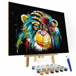 Paint by Number Kit --  Colorful Monkey - BlingPainting