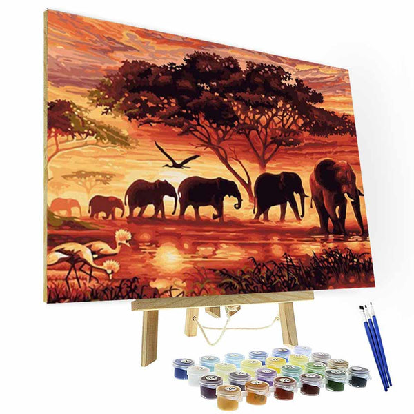 Paint by Number Kit  - Elephant Group's Way Home - BlingPainting