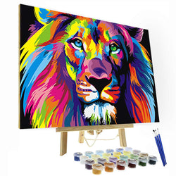 Paint by Numbers Kit - Colorful Lion - BlingPainting