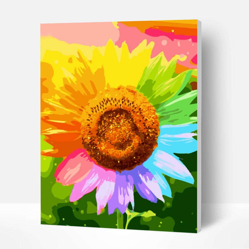 Paint by Number Kit -- Colorful sunflower - BlingPainting