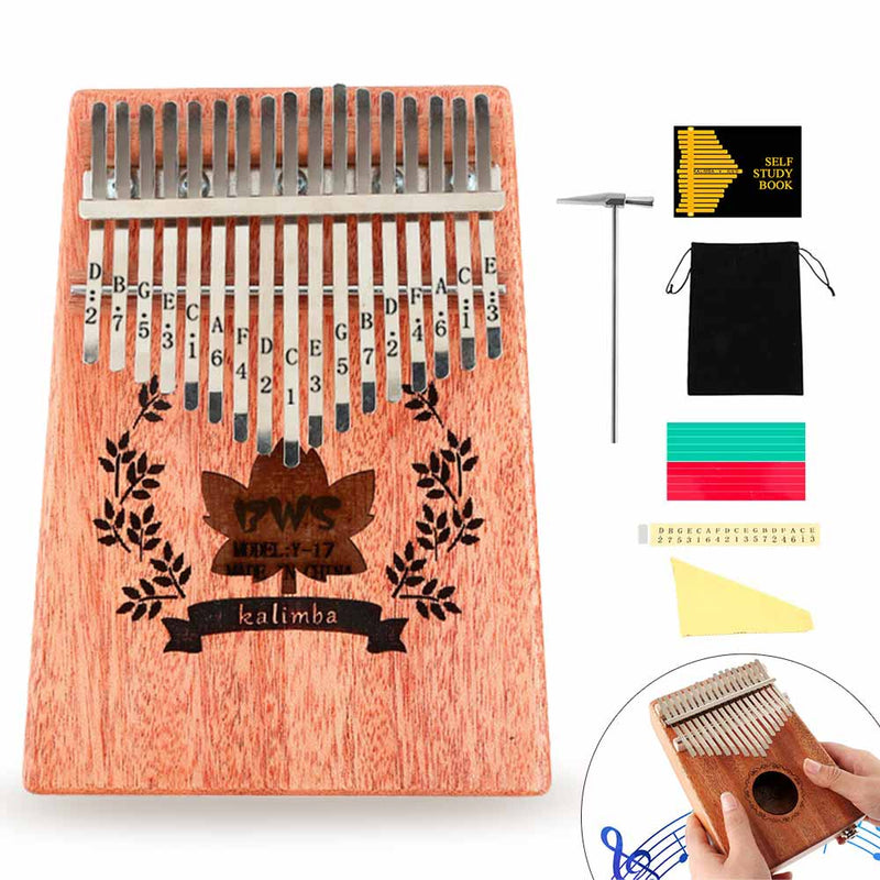Kalimba 17 key Thumb piano Mahogany Wood - BlingPainting
