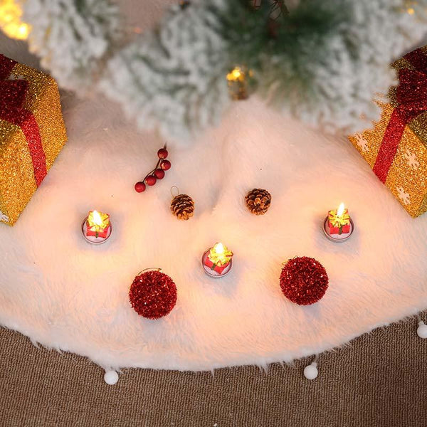 Christmas Faux Fur Design White Tree Skirt