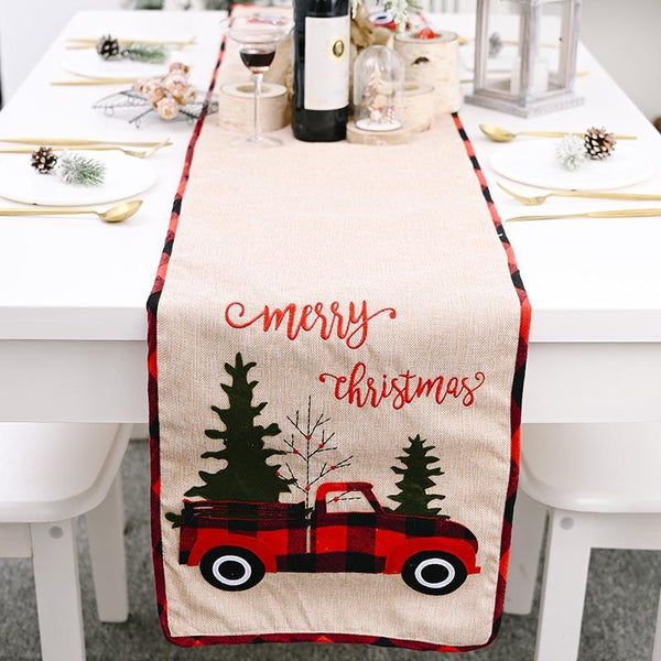 Christmas Red Truck Table Runner - BlingPainting