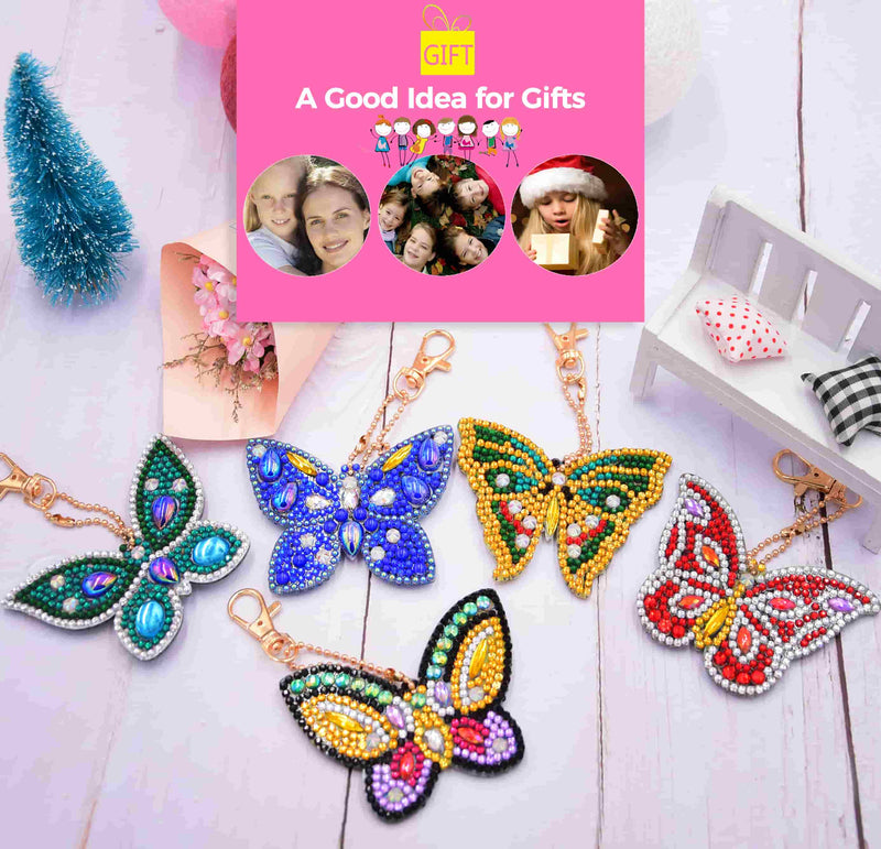 DIY 5D Mosaic Making Full Drill Special Shape Diamond Painting Keychain - Butterfly - BlingPainting