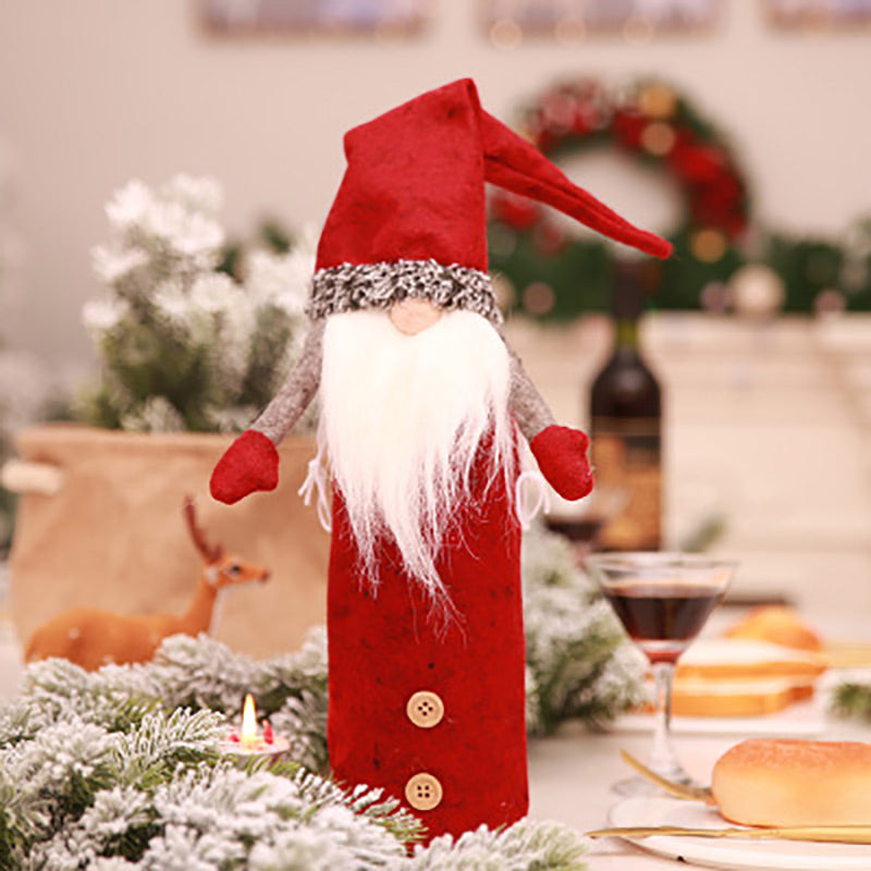 Christmas Elf Gnomes Wine Bottle Cover