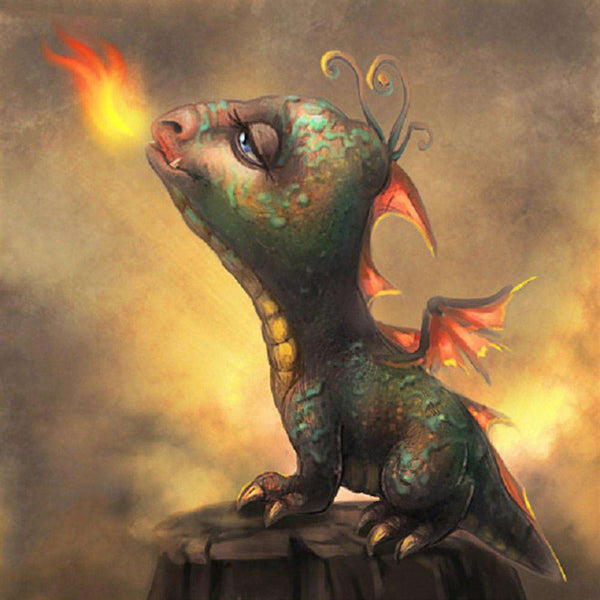 Fire-breathing Baby Dragon - BlingPainting