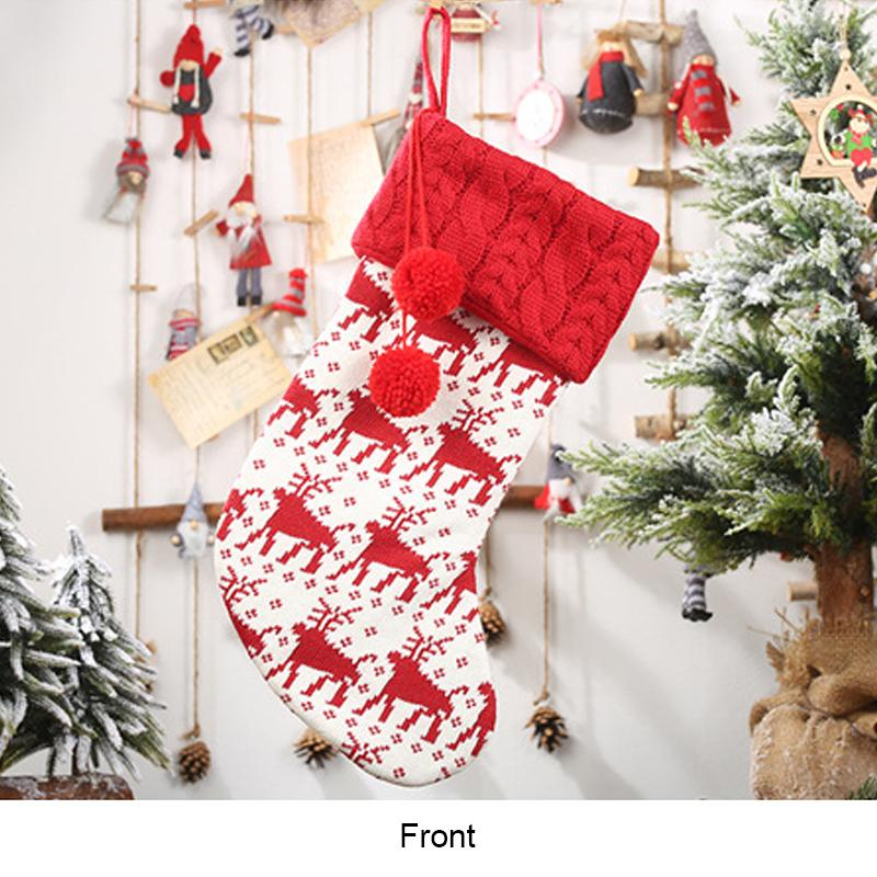 Christmas Decor Reindeer Knit Stocking