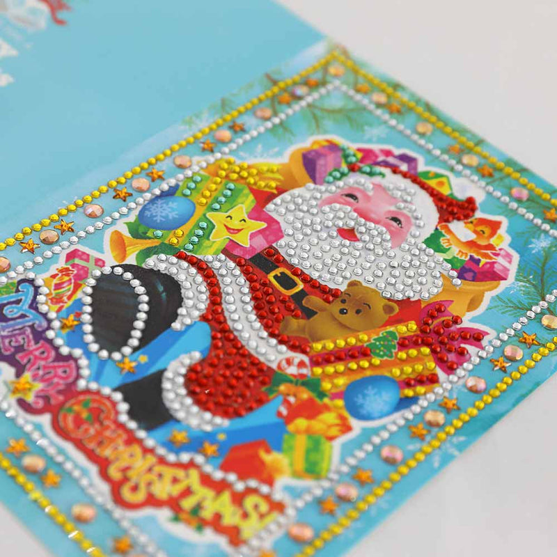 5D DIY Diamond Painting Cards Christmas Cards - Tree Santa Claus Full Drill (4pcs) - BlingPainting
