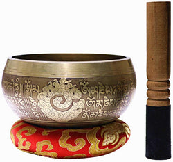 "Tibetan Singing Bowl Set 4"" - Peace Mantra Design - With Dual Surface Mallet and Silk Cushion - BlingPainting"