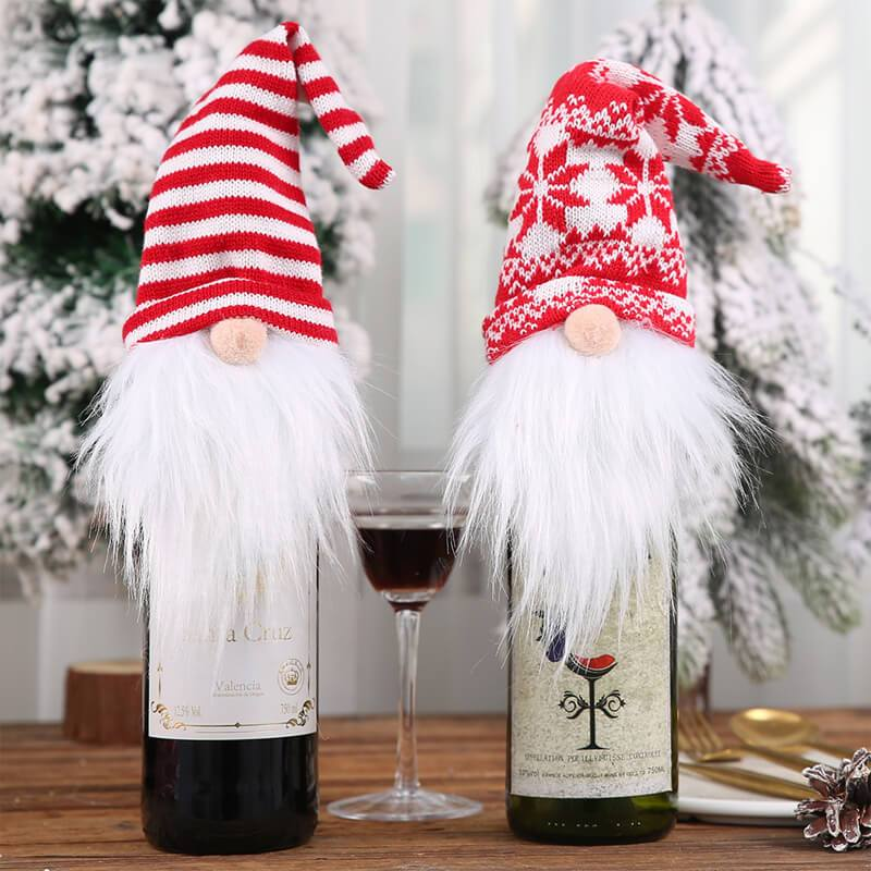 Christmas Gnomes Wine Bottle Cover