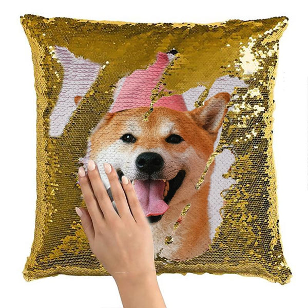 Custom Sequin Throw Pillow with Photo - Make your own Sequin Pillow - BlingPainting