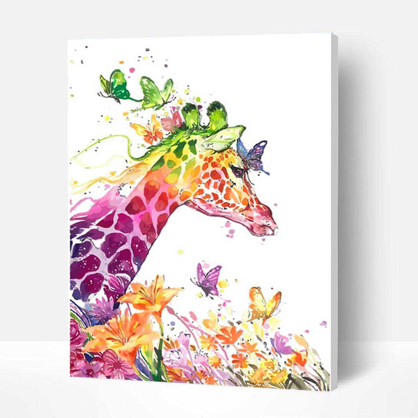 Paint by Numbers Kit - Giraffe and Butterfly - BlingPainting