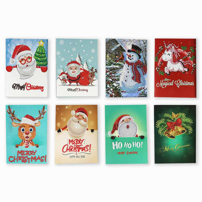 Christmas Cards 5D DIY Diamond Painting Round Drill Greeting Cards (8 pcs) - BlingPainting