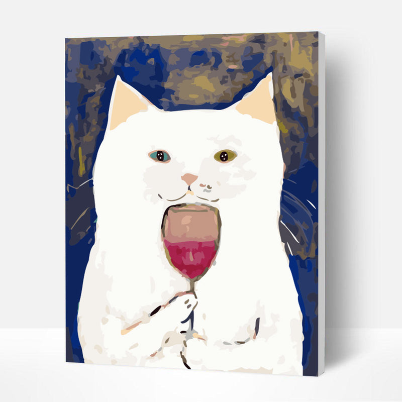 Paint by Numbers Kit - Drinking Cat - BlingPainting