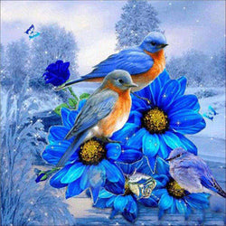 Beautiful Flowers with Birds - BlingPainting