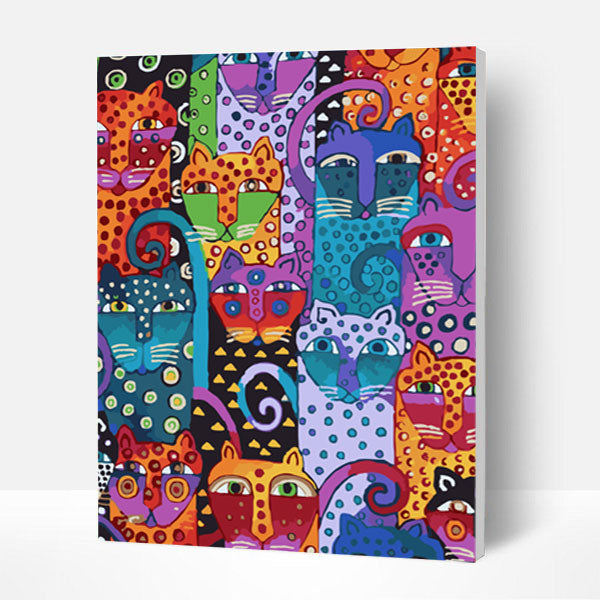 Paint by Numbers Kit - Big Collection of Abstract Cats - BlingPainting