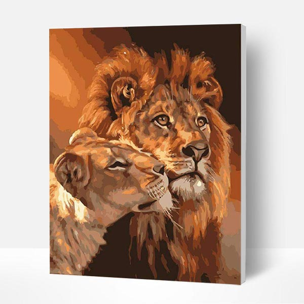 Paint by Number Kit - Lion King and Queen - BlingPainting