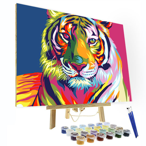 Paint by Numbers Kit - Colorful Tiger - BlingPainting