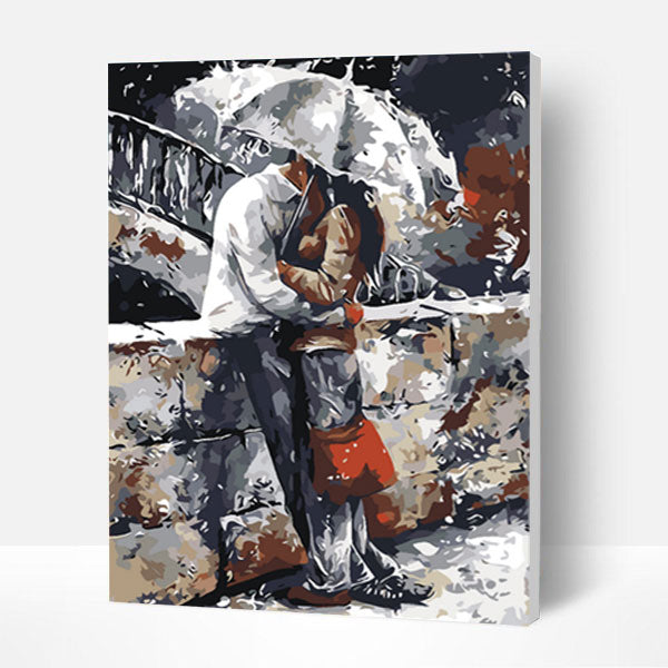 Paint by Numbers Kit -Hugging in The Rain - BlingPainting