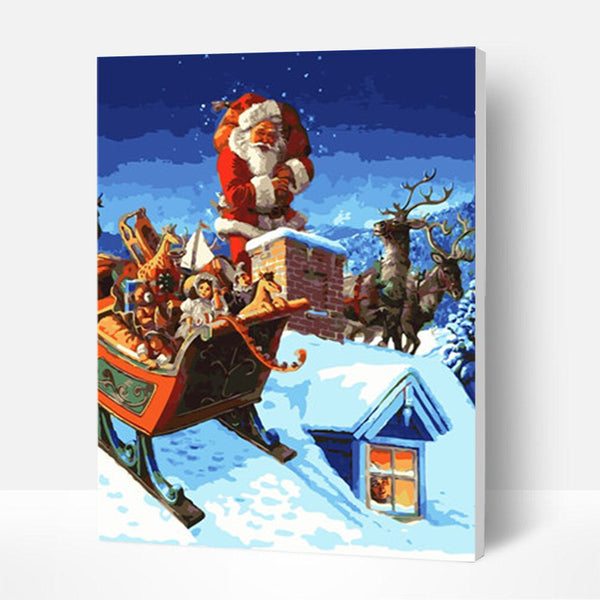 Christmas Paint by Numbers Kit - Santa  In The Snow