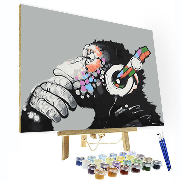 Paint by Numbers Kit - Listening Gorilla - BlingPainting