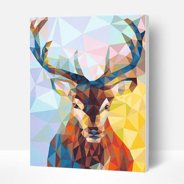 Paint by Numbers Kit - Geometric mosaic deer - BlingPainting