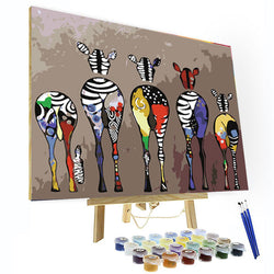 Paint by Numbers Kit - Five Zebras - BlingPainting