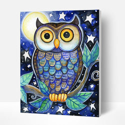 Paint by Number Kit   -- Cartoon Owl - BlingPainting
