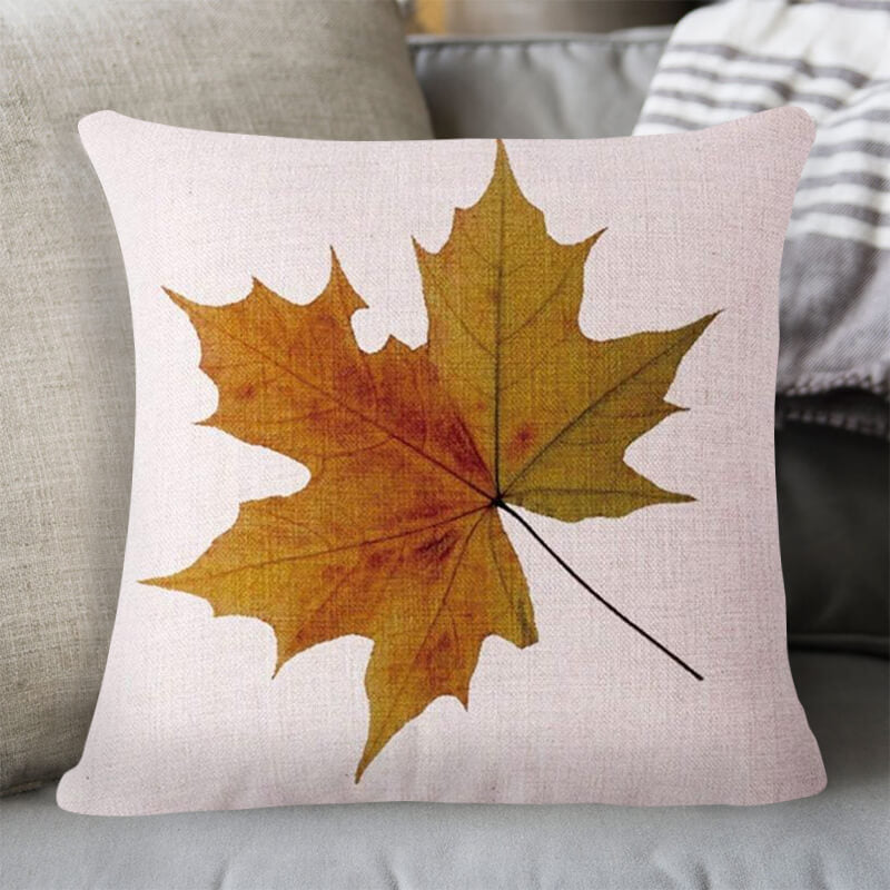 Fall Decor Linen Maple Leaf Throw Pillow B - BlingPainting